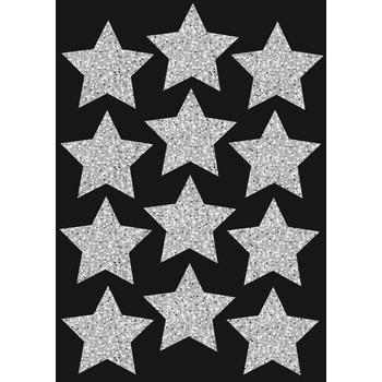 Ashley, Silver Sparkle Stars Die-Cut Magnets, 3 inches, Set of 12