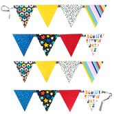 Colorfetti Collection, Double-Sided Pennant Banner, 8 Designs, 16 Flags, 12 Feet