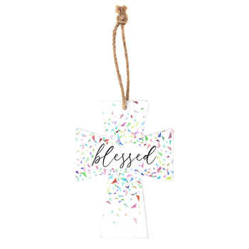 Blessed Confetti Mini Wall Cross, MDF, 5 x 3 1/2 inches