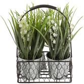 Lily of the Valley in Metal Basket, Green/White, 9 Inches