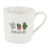 Faithworks, Bloom With Grace Cactus Coffee Mug, Bone China, White & Green, 14 ounces
