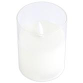 White Pillar Glass LED Candle, Multiple Sizes Available