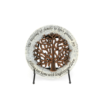 Roman, Inc., Tree of Life Table Plaque with Easel or Garden Stone, Resin, 6 1/2 inches