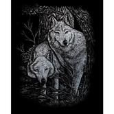 Royal & Langnickel, Engraving Art Set, Wolves, 8 x 10 inches, Silver Foil