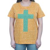 Southern Grace, Tie Dye with Turquoise Cross, Women's Short Sleeve T-shirt, Mustard, S-2XL