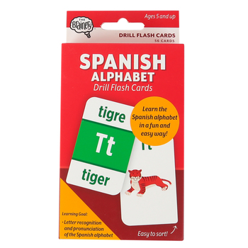 The Brainery, Spanish Alphabet Drill Flash Cards, 56 Cards, 3.25 x 5.25 Inches, Grades K and up