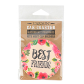 Carson Home Accents, Best Friends Car Coaster, Absorbent Stoneware, 2 3/4 inches