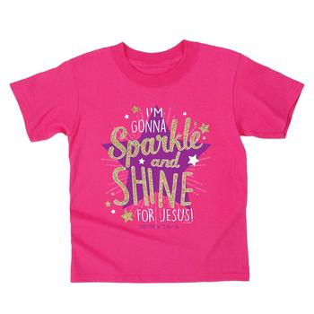 Kerusso, Matthew 5:16, I'm Gonna Sparkle & Shine For Jesus, Kid's Short Sleeve T-Shirt, Pink, 3T-YL