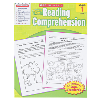 Scholastic, Success with Reading Comprehension Activity Book, 48 Pages, Reproducible Paperback, Grade 1