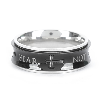 Spirit & Truth, Isaiah 41:10, Fear Not, Men's Spinner Ring, Stainless Steel, Black, Sizes 8-12