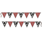 Western Party Red Bandana and Cow Print Banner, Red, Black, and White, 10 Foot x 6 Inches, 1 Each