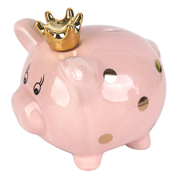 Brother Sister Design Studio, Piggy Bank with Crown, Ceramic, Pink & Gold, 5 1/2 x 4 1/2 x 5 inches
