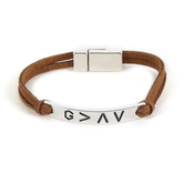 Faith Spark, God Is Greater Tag Bracelet, Zinc Alloy and Polyurethane and Magnet, Silver and Brown, 7 Inches