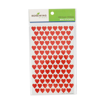 Renewing Minds, Hearts Mini Incentive Stickers, Red, Pack of 1050