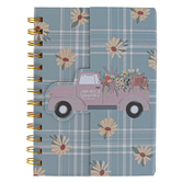 Mardel, Farmhouse Plaid Notebook, Blue and Pink with Truck, Gold Spiral, 80 Sheets, 5.25 x 7 Inches