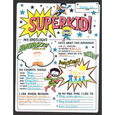 Superkid Fill-In Poster Set, 17 x 22 inches, Black and White, 30 Posters