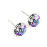 Howard's, Ear Sense, Round Glass Rivoli Stone Post Earrings, Amethyst Swarovski Crystals, 1/4 Inches