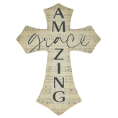 P. Graham Dunn, Amazing Grace Wood Wall Cross Décor, Faded Song Sheet, 12 x 16 x 0.75 Inches