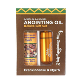 Logos Trading Post, Frankincense & Myrrh Anointing Oil Deluxe Gift Set, Brass, 4 Pieces