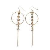 His Truly, Hoop Earrings with Disks and Tassel, Zinc Alloy, Shiny Gold