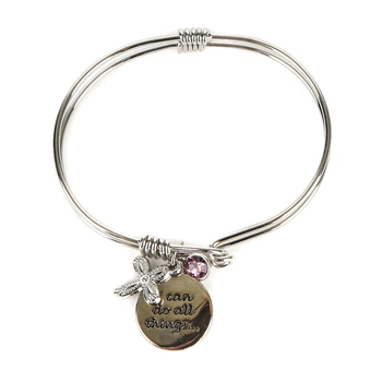 H.J. Sherman, Philippians 4:13 I Can Do All Things Double Strand Bangle Charm Bracelet, Rhodium Plated, Silver