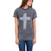 Crazy Cool Threads, Cross Acid Wash, Women's Short Sleeve T-Shirt, Grey, Small