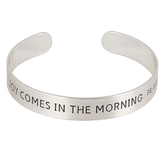 Mercy Adorned, Psalm 30:5 Joy Comes In The Morning Cuff Bracelet, Zinc Alloy, Brushed Silver