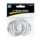 Make A Note, 2-Inch Book Rings, Silver Steel, Pack of 6