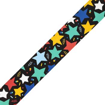 Colorfetti Collection, Wide Border Trim, 38 Feet, Multi-Colored Stars and Confetti on Black