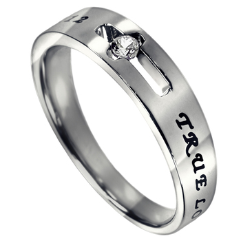 Spirit & Truth, True Love Waits, 1 Timothy 4:12, Purity Ring, Stainless Steel