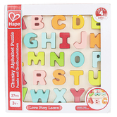 Hape, Capital Letters Chunky Wooden Puzzle, 27 Pieces, 11 1/4 x 10 3/4 inches