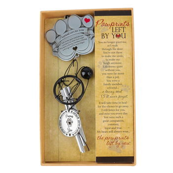 The Grandparent Gift Co., Pawprints Left By You Windchime, Silver, 12 inches