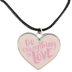 Modern Grace, Do Everything in Love Heart Necklace, Zinc Alloy & Leather, Silver and Pink, 22 inches