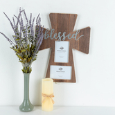 Blessed Cross Photo Frame, Holds 2 Photos 4 x 6 inches, 17 1/2 x 13 3/4 x 1/2 inches