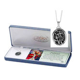 Dicksons, St. Christopher Medal Pendant Necklace, Silver, 18 inches