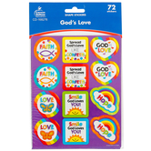 Carson-Dellosa, God's Love Stickers, Classroom Pack, Multi-Colored, 72 Stickers