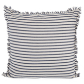 Navy and Cream Ticking Striped Square Pillow, Polyester and Cotton, 18 x 18 x 7 Inches