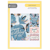 ThreeRoses, Fun Feminine Patterns Birthday Boxed Cards, 12 Cards with Envelopes