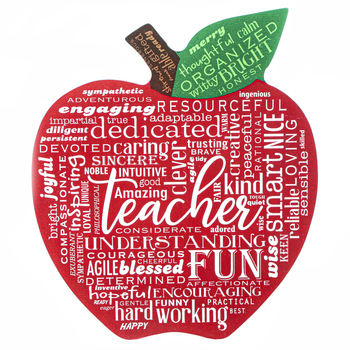 Abbey and CA Gift, Teacher Apple Plaque, MDF, Red and White, 7.25 x 9.50 Inches