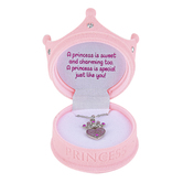D.M. Merchandising, Expressively Yours Princess Sparkling Crown Pendant Necklace with Gift Box, Light Pink, 16 Inches
