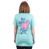 Cherished Girl, 1 John 4:9 Hog Wild For Jesus, Women's Short Sleeved T-Shirt, Mint Green, S-3XL