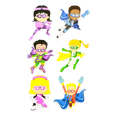 Superheroes Collection, Jumbo Superhero Cutouts, 10 Inches, 6 Assorted Multi-colored, 12 Pieces