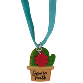 Glitter and Grace, Cactus Grow in Faith Velvet Cord Necklace, Blue/Silver, 16 inch Cord