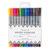 Twin Tip Brush Markers, Brush and Thin Tips, Assorted Colors, Pack of 12