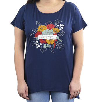 NOTW, To Know Him, Women's Short Sleeve Hi-Low Top, Navy, XS-2XL