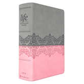 NIV Life Application Study Bible, 3rd Edition, Large Print, Imitation Leather, Gray & Pink, Indexed