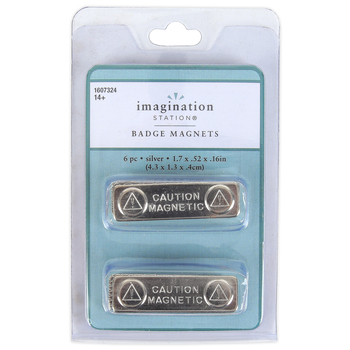 Imagination Station, Badge Magnets, Metal, 1 3/4 x 1/2 inches Each, 6 Magnets