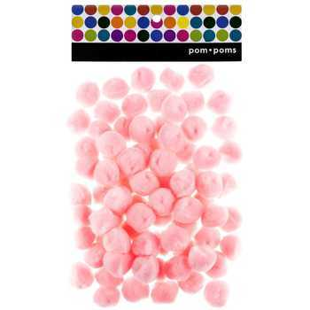 Pom Poms, 1 inch, Pink, 80 count