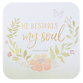 Legacy Publishing Group, He Restores My Soul Coaster, Light Green, 3 3/4 x 3 3/4 Inches