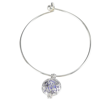 Bella Grace, Essential Oil Diffuser Wire Bracelet, Zinc Alloy & Iron, Silver